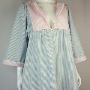 Vintage Blue Pink Striped Seersucker Robe
